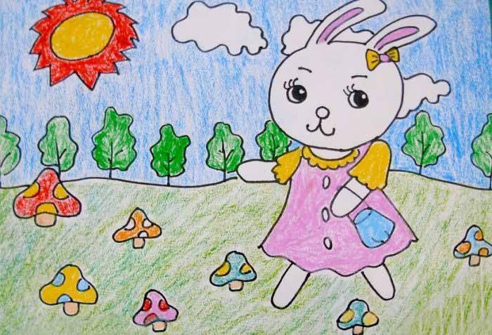 """阳光灿烂的一天,小兔和大象树林面的河对岸采蘑菇。小兔听到了小河流水的声音,小象指着对面的蘑菇,她说:""""采那里的蘑菇。""""然后小白兔就兴高采烈的去了。小朋友们,你们喜欢吃蘑菇吗?今天小编推荐的蜡笔画就是小白兔采蘑菇哦,一起来看看吧。"""