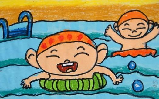 靠蜡笔画-游泳,是在水上靠自力漂浮,借自身肢体的动作在水中运动前进的技能
