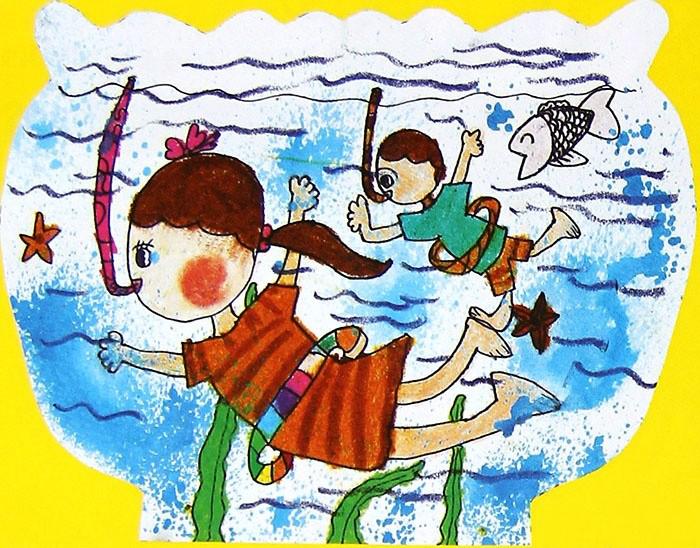 做运动儿童画-潜水运动