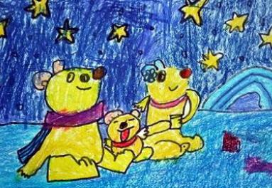 今天小编推荐的儿童蜡笔画中就有我们可爱的北极熊哦.