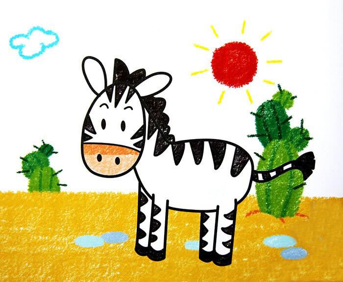斑马儿童画-可爱的小斑马