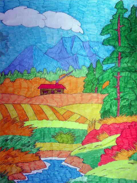 蜡笔画 03  金色的麦田      小朋友们,你看,当秋风一吹,这田野的