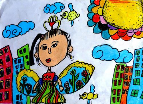 动物翅膀儿童画
