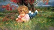 春夏秋冬儿童画-秋季的落叶