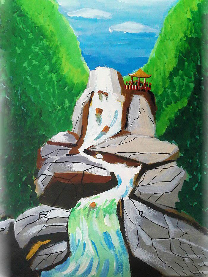 用铅笔画瀑布-小朋友们,大家知道吗?九龙瀑布群是中国最大的瀑布群景观.是罗平