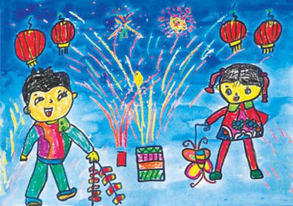 创意画室的小朋友为我们带来的儿童画作品吧,里面就是关于过新年的哦.图片