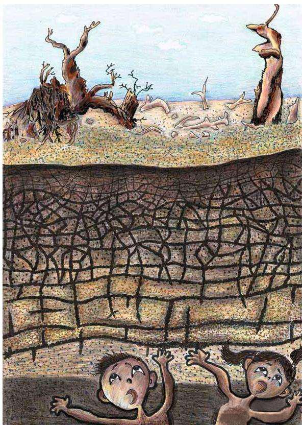 森林沙漠治沙儿童画