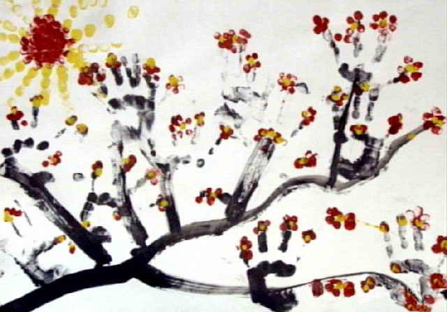 儿童水粉画梅花