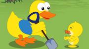 鸭子父子挖泳池