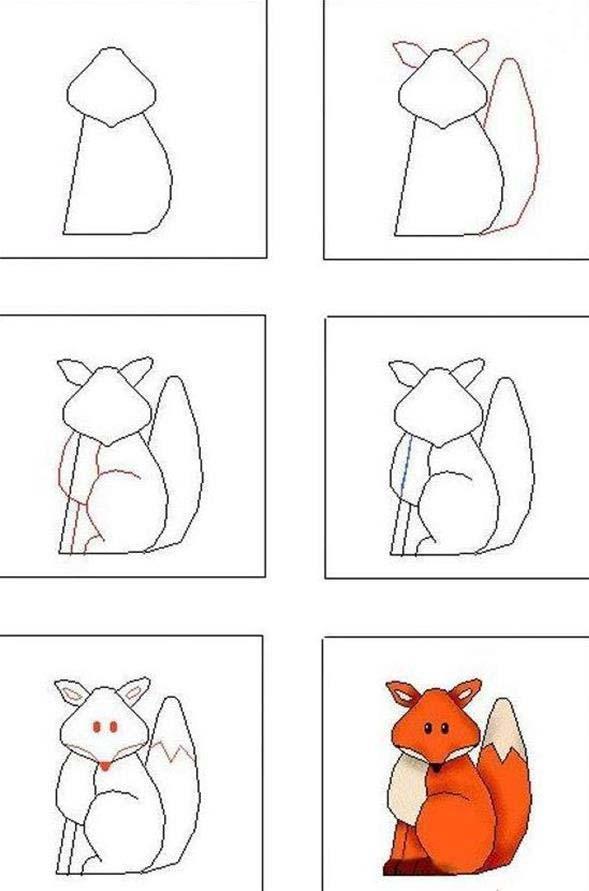 嘴巴,耳朵,尾巴,同时加上眼睛;5,填色,完成狐狸简笔画全部画法步骤.