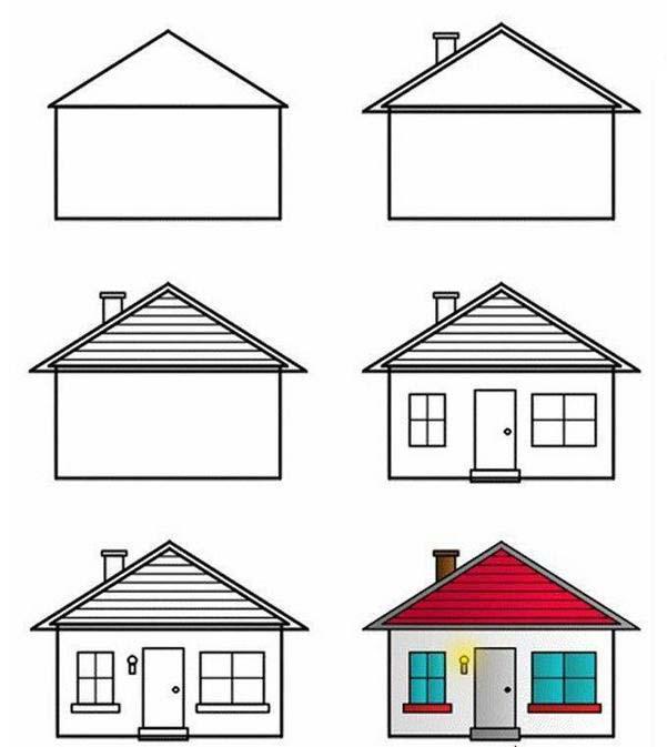 """在长方形的简笔画小房子""""正面墙上""""画出一大一"""