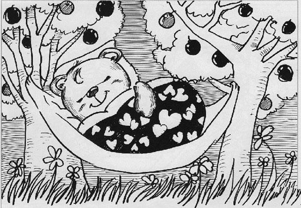 可爱小猫睡觉儿童绘画