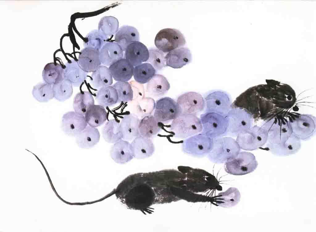 儿童画 03  国画 03  偷吃葡萄的老鼠      老鼠能够跳出身长四五