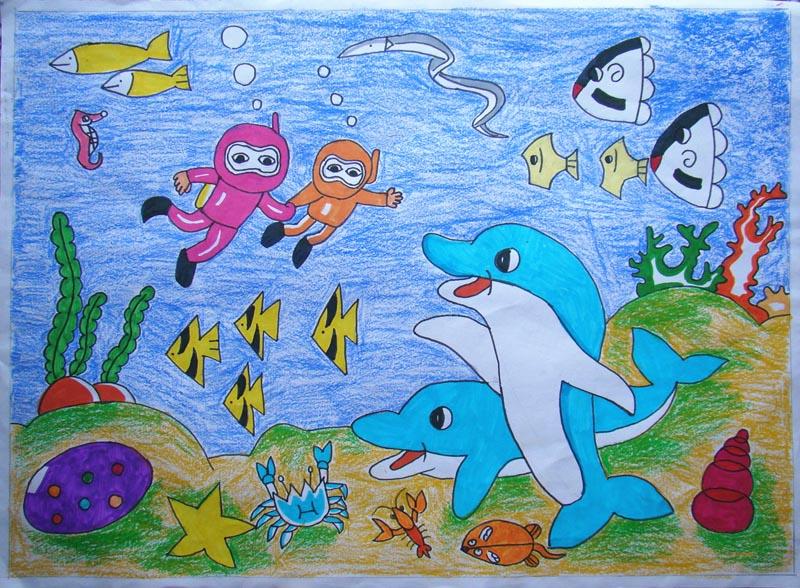 会招手的海豚_起跑线儿童画