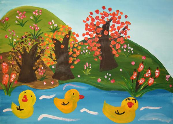 夏秋冬儿童画 春天里的鸭子