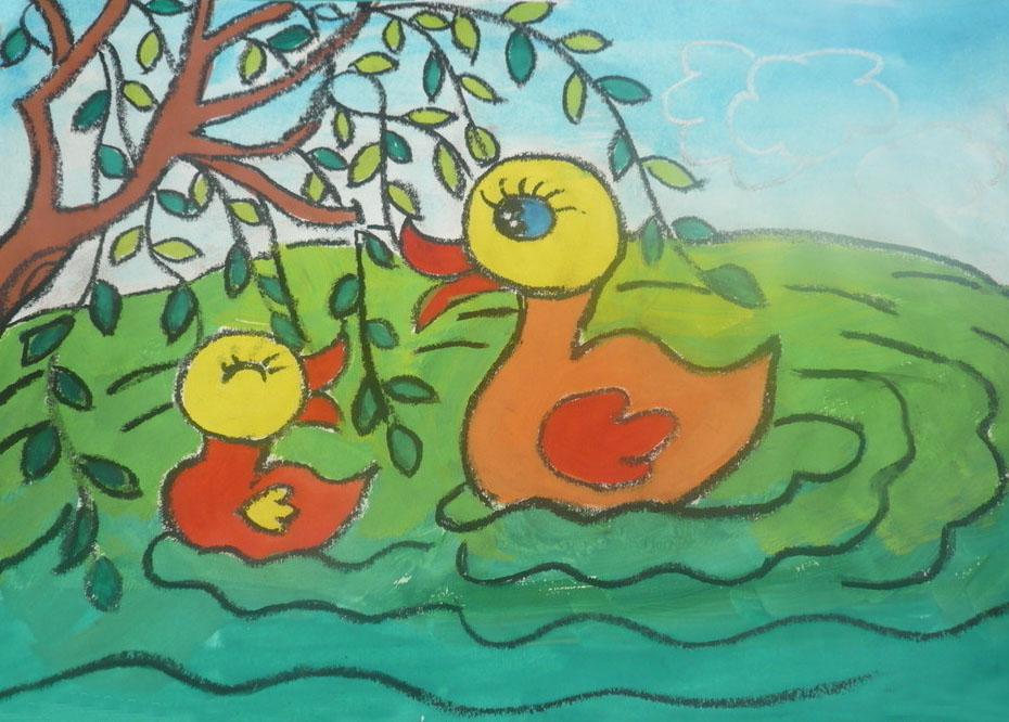 池塘里的鸭子_起跑线儿童画