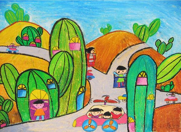 最美丽家乡儿童画大全-渴望的绿色家乡