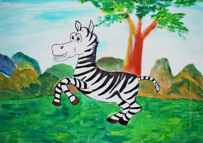 斑马儿童画-草原上的斑马