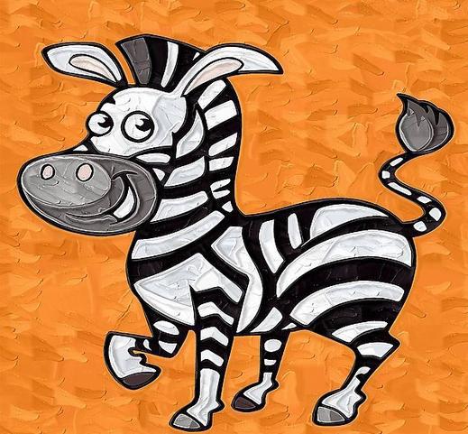 斑马儿童画-斑马身上纹路