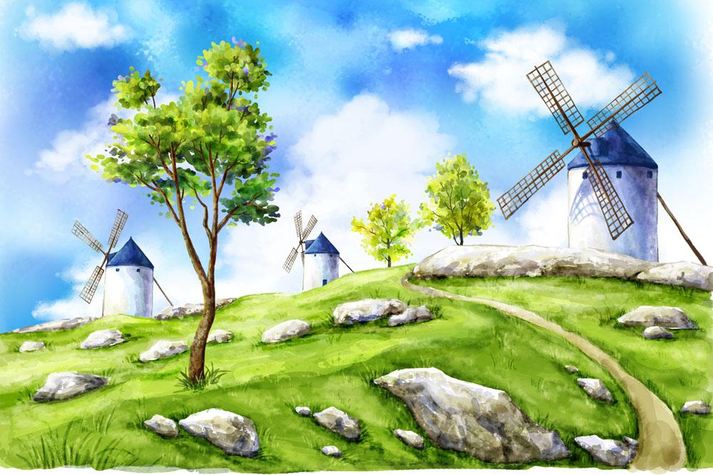 彩绘风车可爱动物