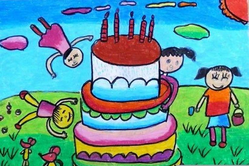 大蛋糕儿童画-生日蛋糕