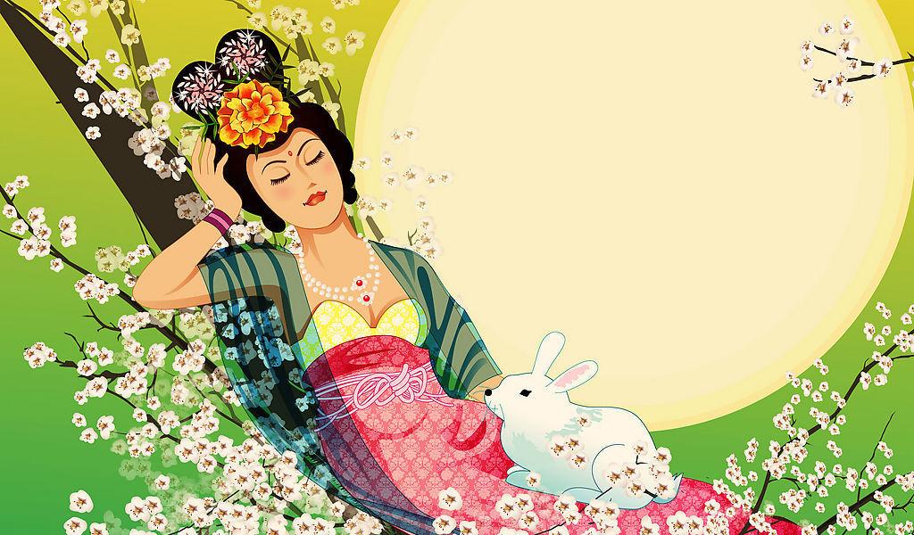 儿童画嫦娥-嫦娥玉兔