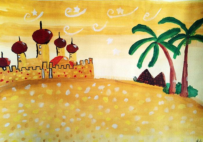 儿童画城堡图片大全-沙漠中的城堡