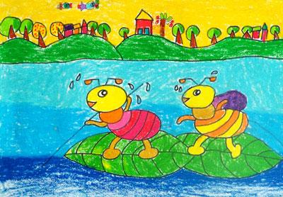 昆虫儿童画 小蚂蚁过河