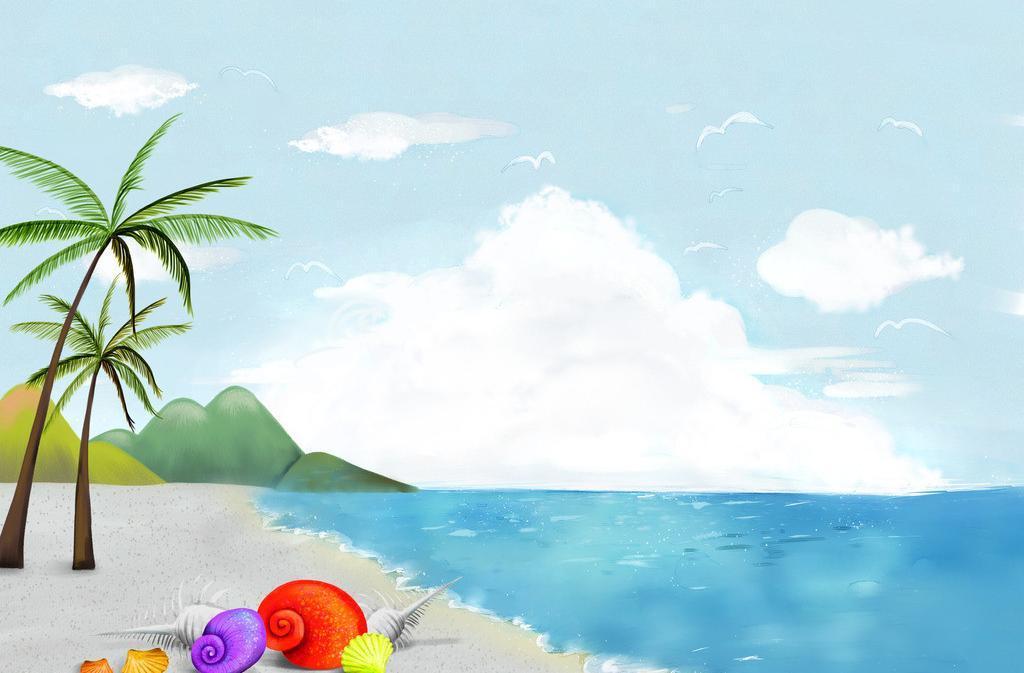 我们约会吧里的美女_大海蓝天儿童画-海边的天空那么蓝_起跑线儿童画