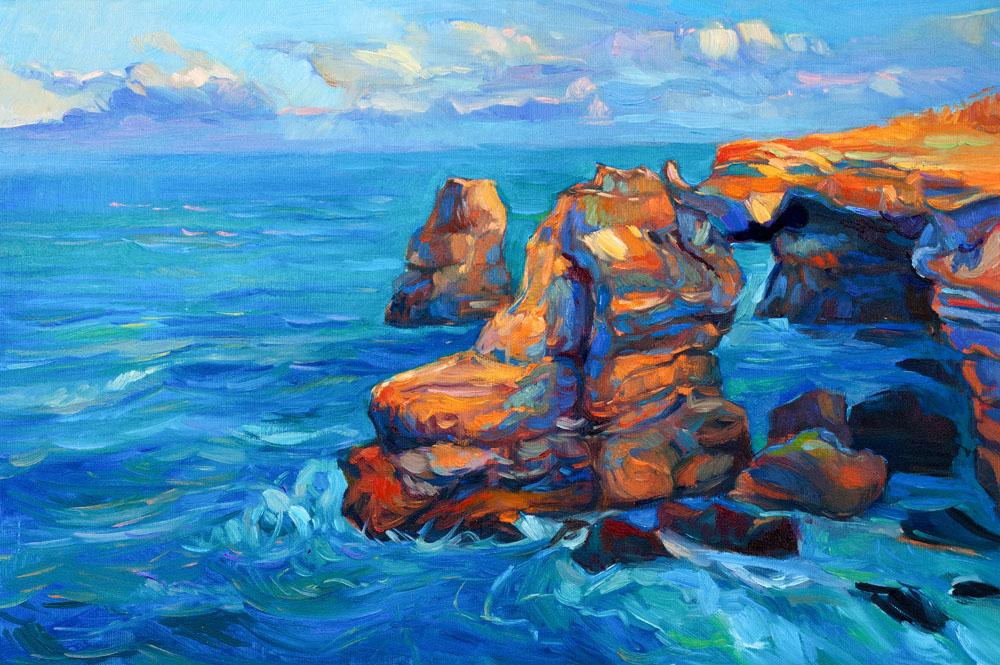 大海蓝天儿童画-蓝蓝的海水