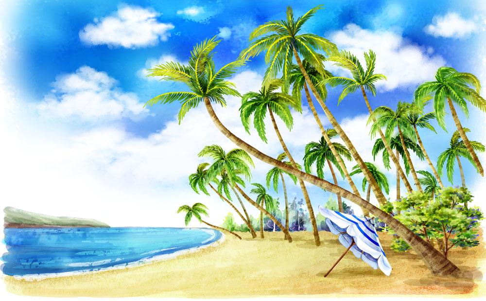 03  儿童画 03  水彩画 03  大海蓝天儿童画-海边度假