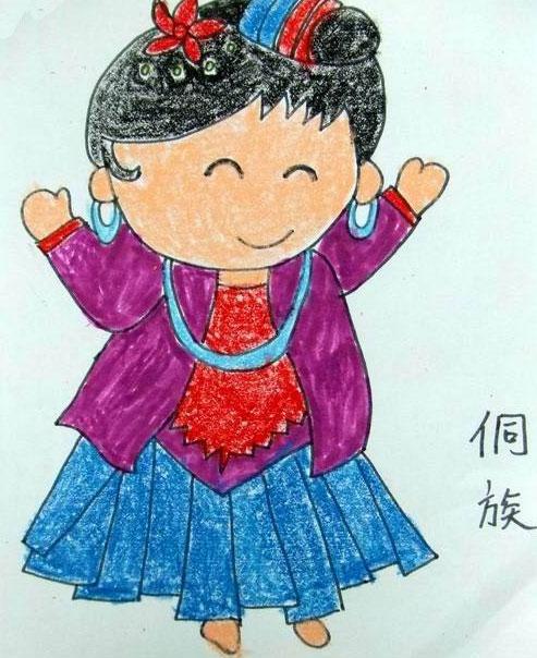 56个少数民族儿童画 侗族小姑娘