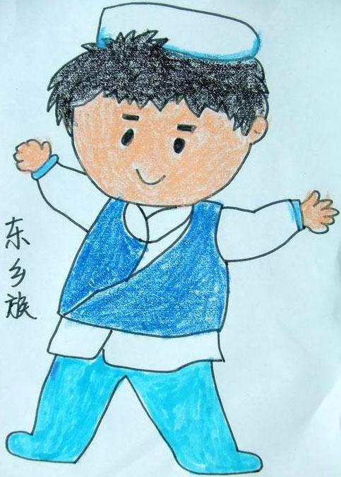 56个少数民族儿童画 东乡族小男孩