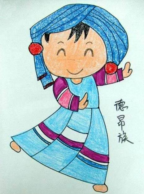 56个少数民族儿童画 德昂族姑娘