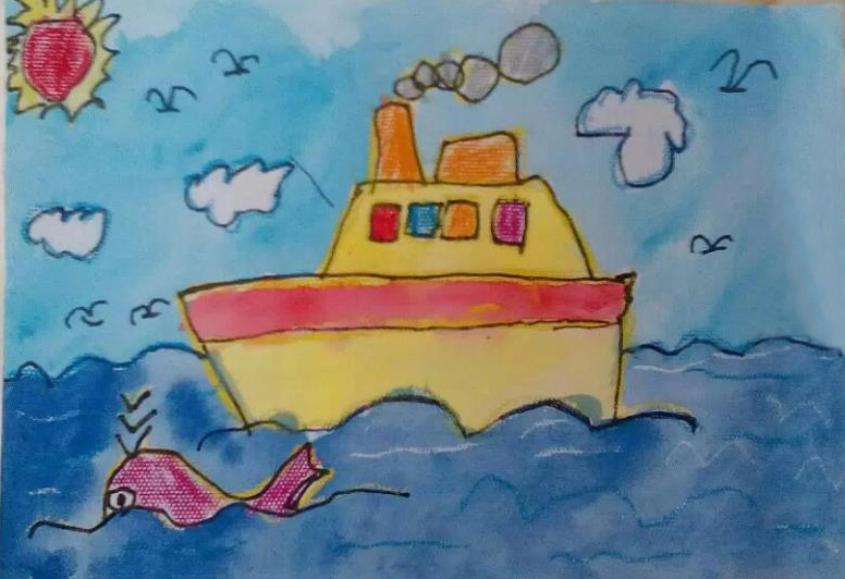 03  儿童画 03  蜡笔画 03  船和大海儿童画-大海轮船和海豚