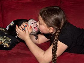 女儿与动物和谐相处